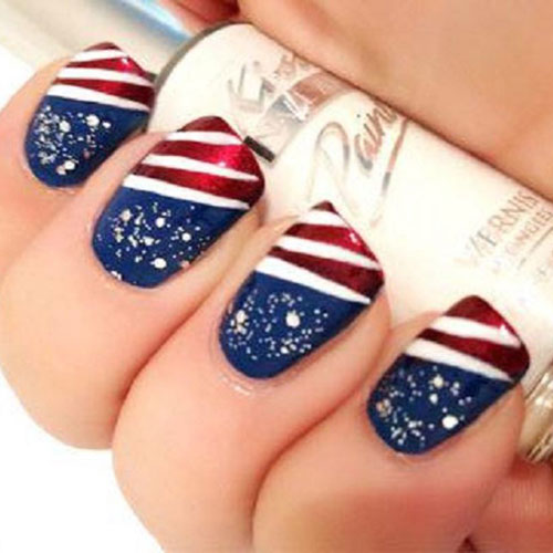 Fourth of July Nail Designs - American Tip Nails