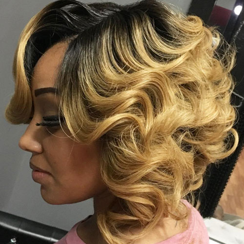Highlighted Feathered Layered Bob - Black Bob Hairstyles