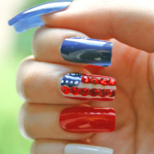 Jeweled Nail Art Designs - Red White and Blue Nails - 4th of July