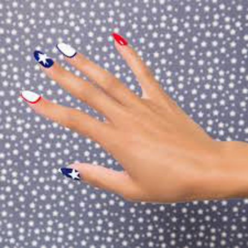 Outline Nail Design - 4th of July Nails