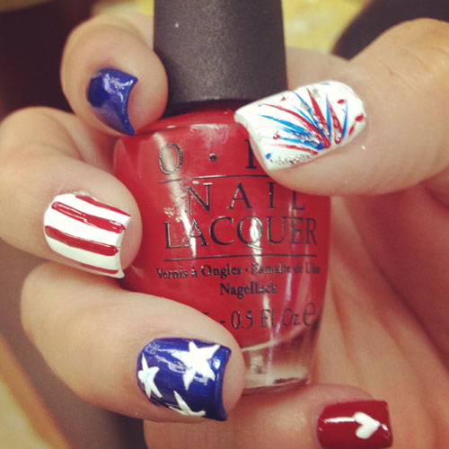 Patriotic Nails - Red White and Blue Nails - Firework Nails - Fourth of July Nails