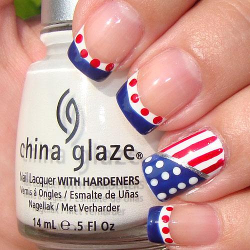 Polka Dot 4th of July Nails - American Tip Nails
