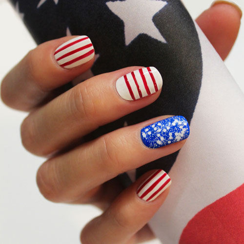 Red and White Nails - Stripes and Stars Nail Designs - 4th of July Nail Art