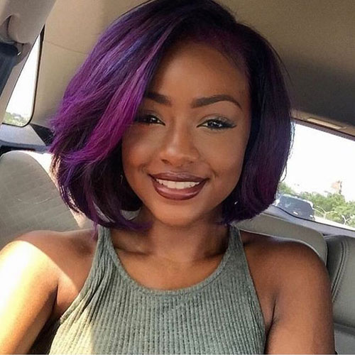 Short Bob Black Hair - Purple Hair Black Bob