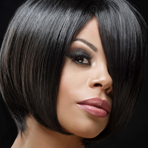 Short Bob Hairstyles for Black Women - Sleek Bob - Bobs with Bangs