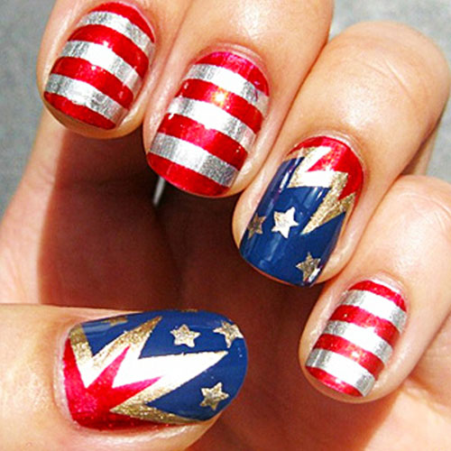 Silver Red and Blue Nail Designs - 4th of July Nails