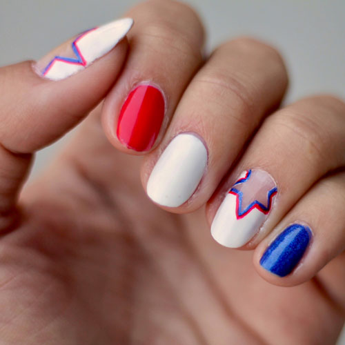 Star Nail Design - 4th of July Nails