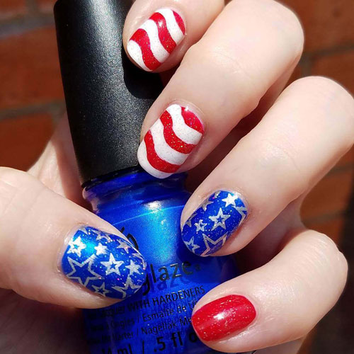 Stars and Stripes Nails - Fourth of July Nails Art