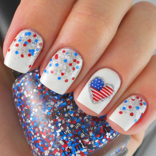 White Sparkly Nails - 4th of July Nails - Red White and Blue Nails - Heart Accent Nail
