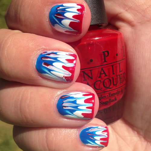 Tie Dye Fourth of July Nail Art - Red Whit and Blue Nails