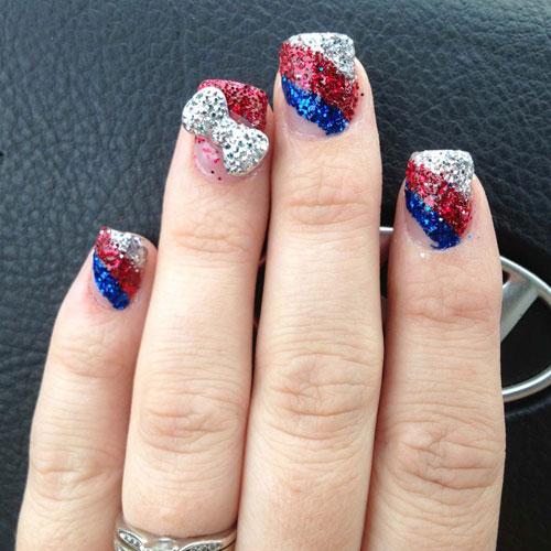 White Sparkly Nails - Blue Sparkly Nails - Sparkly Fourth of July Nail Art